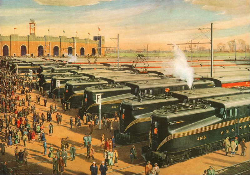 By Griffith Teller - To The Game: A Pennsylvania Railroad Tradition, Public Domain. In 1936. when the game moved to Municipal Stadium, the Pennsylvania Railroad operated special game-day service with additional trains serving as many as 30,000 attendees.